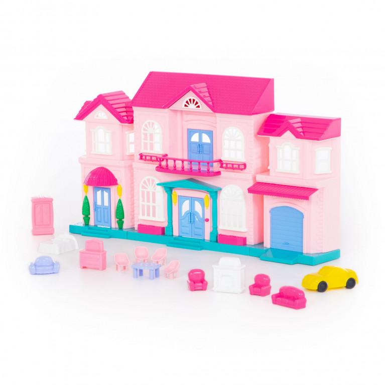 Кукольный домик София с набором мебели и автомобилем
